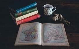 Books, map, cup, poppy, still life