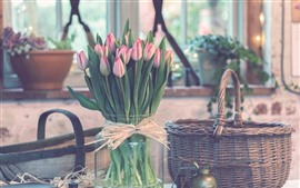 Preview wallpaper Bouquet, pink tulips, vase, basket