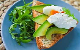 Breakfast, avocado, egg, bread