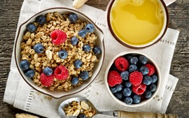 Preview wallpaper Breakfast, cereal, blueberry, raspberry, juice
