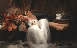 Preview wallpaper Bride, wedding, chair, flowers
