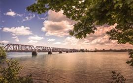 Мост, река, деревья, облака, сумерки