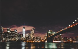 Brooklyn, river, bridge, skyscrapers, illumination, night, USA