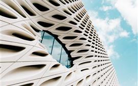 Edifícios, janela, céu, nuvens