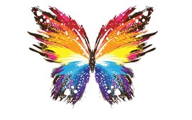 Preview wallpaper Butterfly, colorful wings, abstract style, white background