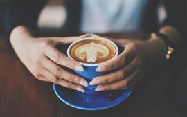 預覽桌布 卡布奇諾咖啡,咖啡,手