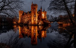 Castle, night, lights, pond