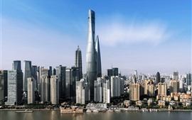 Preview wallpaper China, Shanghai, skyscrapers, river, city, sky