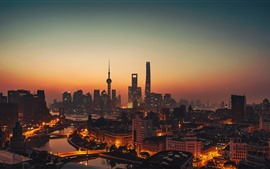 China, Shanghai, rascacielos, torre, atardecer, paisaje urbano