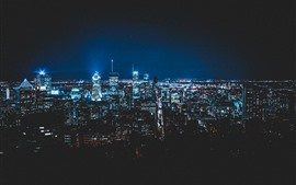 City at night, illumination, skyscrapers, Montreal, Canada