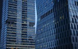 Edifícios da cidade, parede de vidro, Guangzhou, China