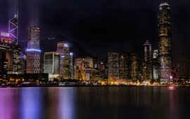 City night, skyscrapers, lights, sea, Hong Kong
