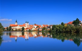Preview wallpaper Cityscape, Czech Republic, houses, river, water reflection