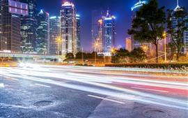 Paisagem urbana, noite, estrada, linhas de luz, cidade