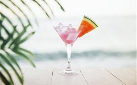 Aperçu fond d'écran Cocktail, tranche de pastèque, glaçons