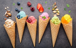 Colorful ice cream, fruit