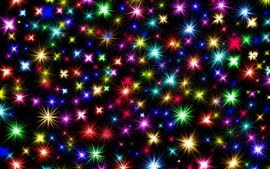 Colorful stars, shine, black background