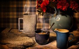 Чашка, кофе, кружка, цветы, пар