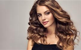 Preview wallpaper Curls girl, brown hair, makeup