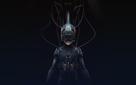 Preview wallpaper Cyberpunk 2077, cyborg, black background