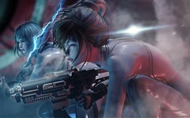 Cyberpunk 2077, girl, weapon
