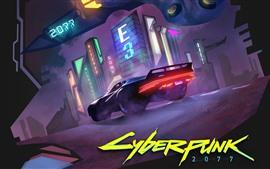 Cyberpunk 2077, supercar, noite, cidade, jogo E3
