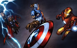 Preview wallpaper DC Comics heroes, Thor, Captain America, Iron Man, art picture
