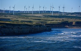 Dalian, Wafangdian, mar, moinhos de vento