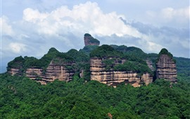 Preview wallpaper Danxia Mountain, Guangdong, China, forest, mountains, clouds