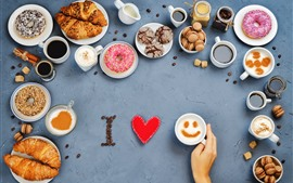 Preview wallpaper Delicious food, cookies, coffee, bread, donut, love heart