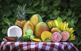 Preview wallpaper Delicious fruit, coconut, lime, mango, pineapple, banana, watermelon