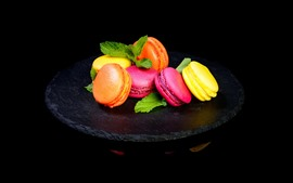 Preview wallpaper Delicious macaron, colors, black background