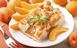 Десерт, торт, кусочек абрикоса