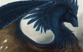Preview wallpaper Dragon, feathers, art picture