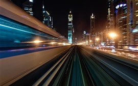 Preview wallpaper Dubai, UAE, road, speed, light lines, skyscrapers, night