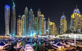Dubai, skyscrapers, city night, boats, dock