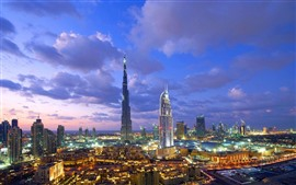 Aperçu fond d'écran Dubaï, gratte-ciel, ville, nuit, lumières, Émirats Arabes Unis