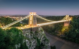 England, Bristol, bridge, dusk, lighting