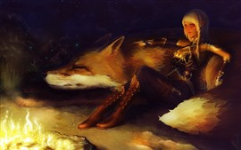 Preview wallpaper Fantasy girl and fox, elf, fire