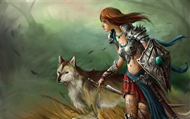 Preview wallpaper Fantasy girl and wolf, warrior, sword, art picture