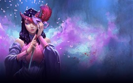 Preview wallpaper Fantasy girl, mask, feathers