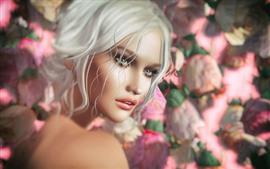预览壁纸 幻想女孩,白头发,鲜花