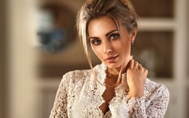 Preview wallpaper Fashion girl, hairstyle, white lace dress