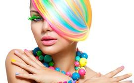 预览壁纸 时尚女孩,彩虹色头发,彩色珠子
