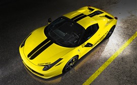 Preview wallpaper Ferrari 458 yellow supercar top view