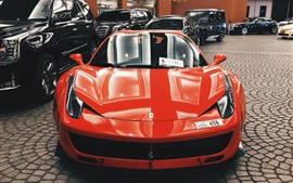 Ferrari orange supercar front view