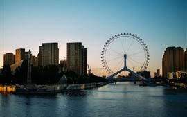 Preview wallpaper Ferris wheel, city, river, bridge, buildings