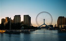 Колесо обозрения, город, река, мост, здания