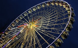 Ferris wheel, night, lights, city