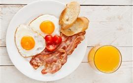 Preview wallpaper Food, eggs, tomatoes, meat, orange juice